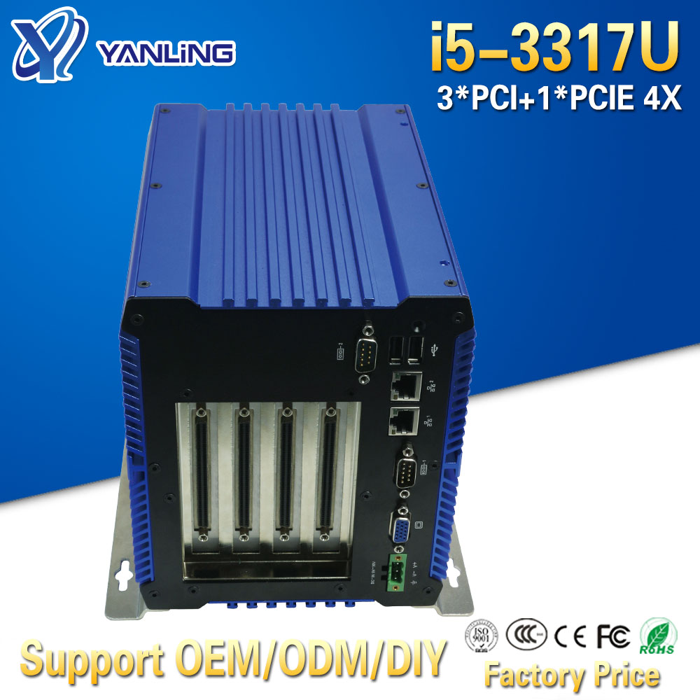 Yanling Onboard 4G Ram Fanless Embedded Pc Intel Core I5 3317U CPU Dual Nic Mini Workstation Box Computer Thin Client Terminal
