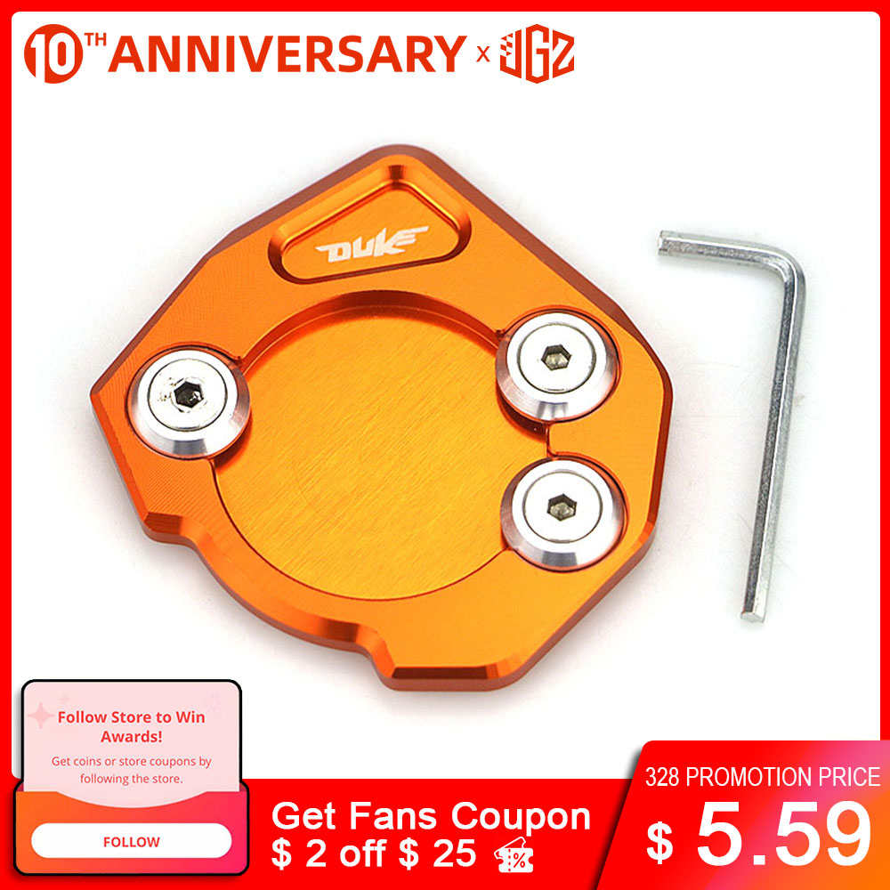 for KTM DUKE 125 200 390 2013 2014 2015 2018 Motorcycle Side Stand Enlarger CNC Kickstand Enlarge Plate Extension Pad Accessory Covers & Ornamental Mouldings     - title=