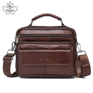 Image 1 - ZZNICK 2020 Genuine Cowhide Leather Shoulder Bag Small Messenger Bags Men Travel New Fashion Men Bag Flap Crossbody Bag Handbags