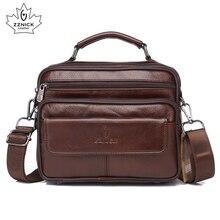 ZZNICK 2020 hakiki inek derisi deri omuzdan askili çanta küçük postacı çantası erkek seyahat yeni moda erkekler çanta Flap Crossbody çanta çanta