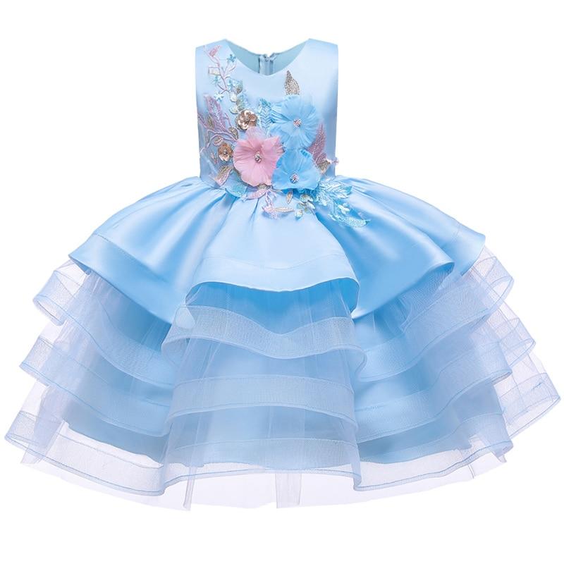 Вечерние платья с вышивкой для девочек; свадебные вечерние платья для девочек с цветами и бусинами; Детский карнавальный костюм Pengpeng - Цвет: blue