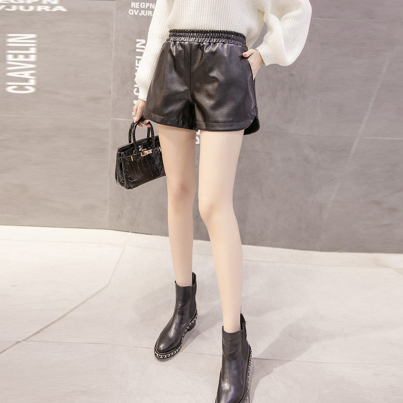 Women Fashion Autumn Winter Comfy Solid Color Casual Wide Leg High Waist Loose PU Leather Shorts