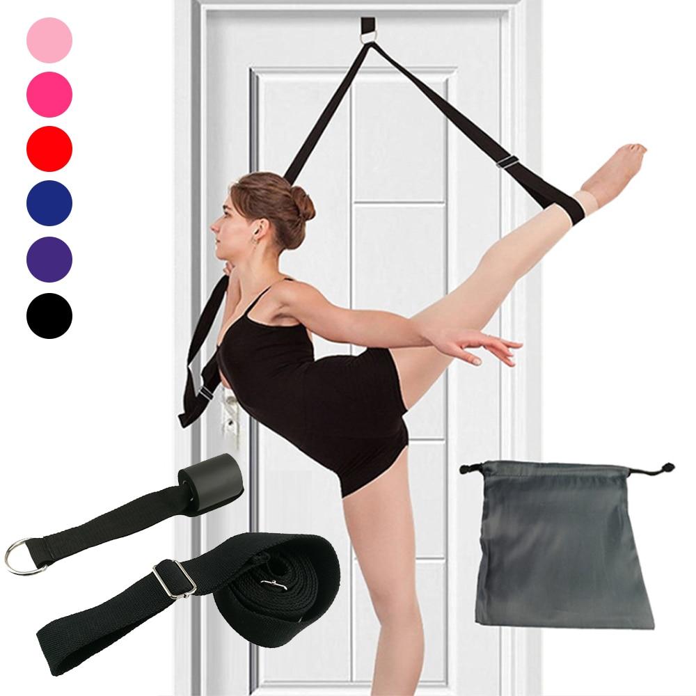 Flexibilidade da porta esticando perna maca cinta para ballet cheer dança instrutor yoga flexibilidade perna cinto de estiramento