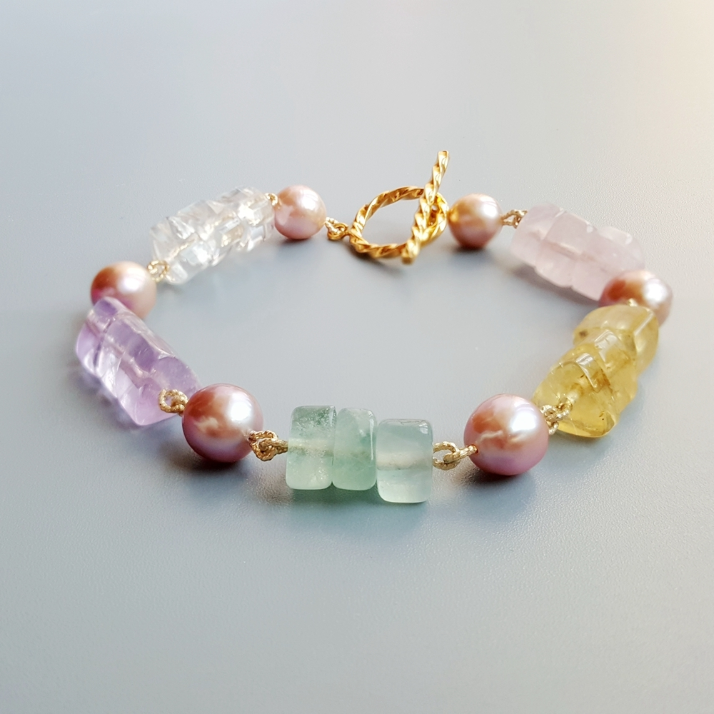 Bijoux de lys véritable améthyste Citrines perle d'eau douce Fluorite Rose Quartzs S925 argent Sterling couleur or Bracelet fait main
