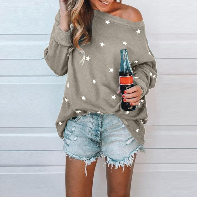 Plus Size S-5XL Sexy Slash Neck Sweatshirt 2020 New Five-pointed Star Print Casual Loose Streetwear Shirt Autumn Pullovers Tops