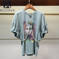 AELESEEN Runway Fashion Blue T Shirts Designer High Quality Loose Style T Shirt Print Luxury Pearls Chian Casual Party T Shirts