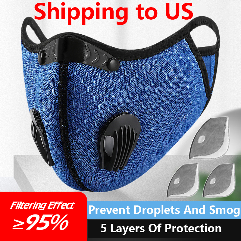 Shipping To USA  Cycling Cycle Dust Filter Sports Running Reusable Anti-Pollution Face Mouth Activated Carbon Filters Ski Bibs