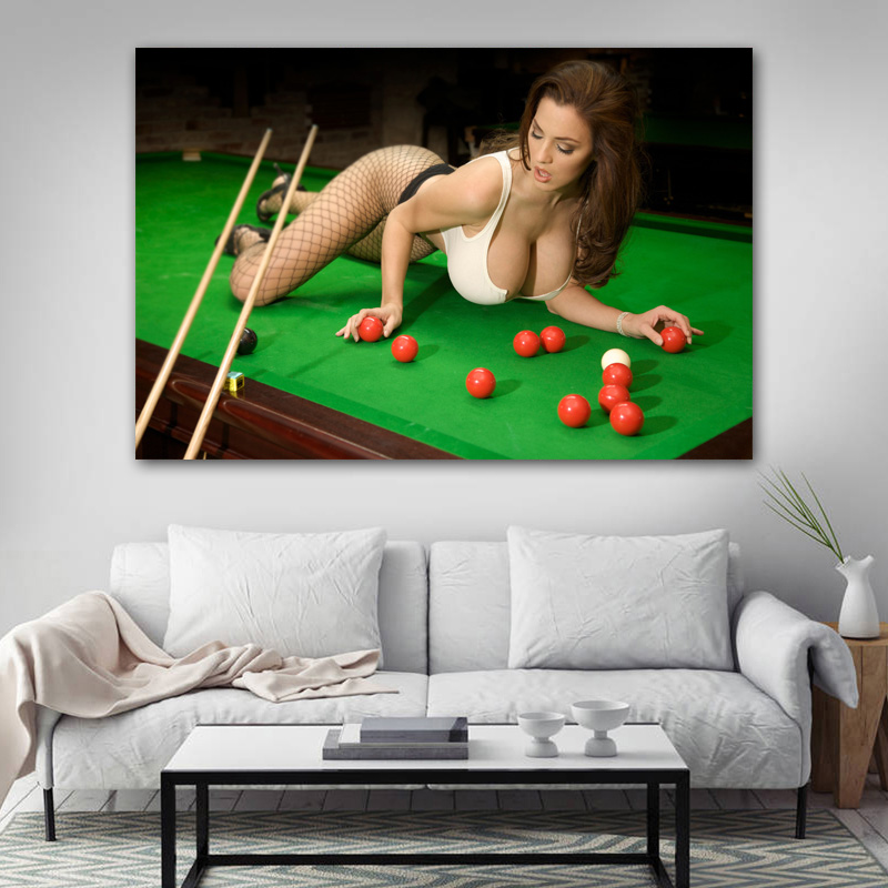 Decorative paintings Hot sexy girl billiard Sport  Wall Art Posters Canvas Prints Artwork For Living Room Decor 3