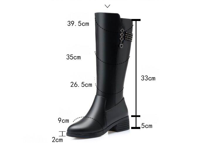 GKTINOO Women Long Boots 2020 New Genuine Leather Female Winter Boots Fashion Big Size 35-43 Wool Thick Snow Shoes Women