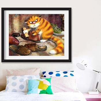 Huacan Diamond Painting DIY 5d Cat Full Square Round Drill Diamond Embroidery Cross Stitch Animal