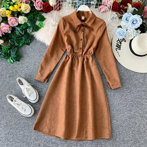 SINGRAIN Corduroy-Dress A-Line Romantic Vintage Long Winter Fashion Solid Autumn Midi