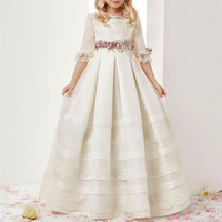 Ivory White Flower Girls Dresses First Communion Dresses Jewel Neck Lace Ruffles Girls Pageant Gowns Children A Line Prom Dress
