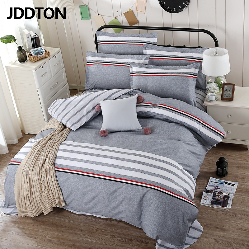 JDDTON New Lovely Style Bedding Set AB Side Color Pattern Bed Set Duvet Cover Sheet Pillowcase Set Fashion Home Bedding BE004