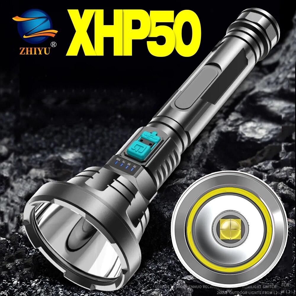 Светодиодный фонарик светодиодный hiyu XHP50, супер мощный тактический фонарь со светодиодной подсветкой osl, водонепроницаемый Ультраяркий фон...