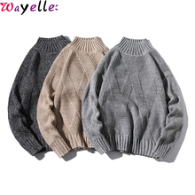 Warm Turtleneck Sweater Men New Autumn Winter Retro Argle Solid Pullovers and Jumpers Mens Casual Loose 5XL