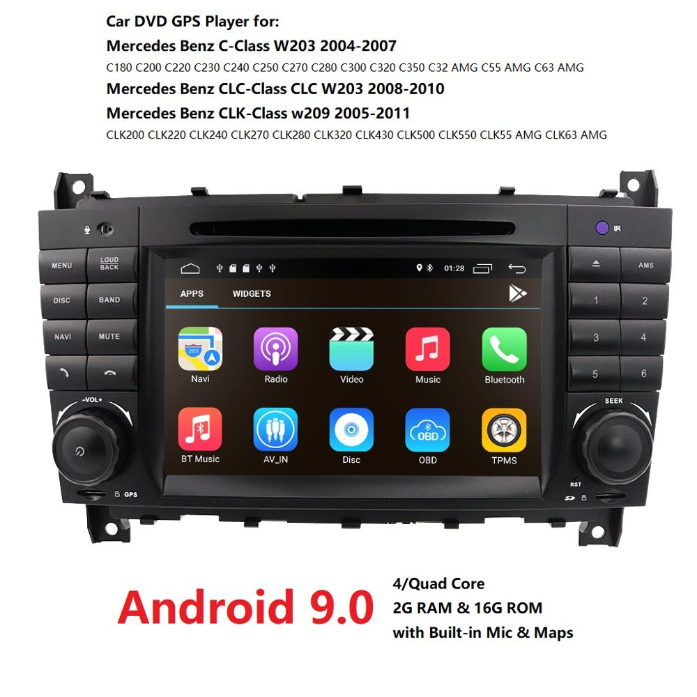 Ossuret Car Multimedia Player <font><b>GPS</b></font> <font><b>Android</b></font> 9 2Din DVD Automotivo For <font><b>Mercedes</b></font>/Benz/C-Class CLC <font><b>W203</b></font> C180 C200 CLK W209 Radio DSP image