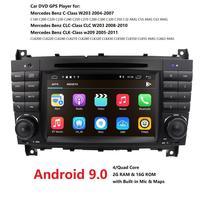 Ossuret Car Multimedia Player GPS Android 9 2Din DVD Automotivo For Mercedes/Benz/C Class CLC W203 C180 C200 CLK W209 Radio DSP