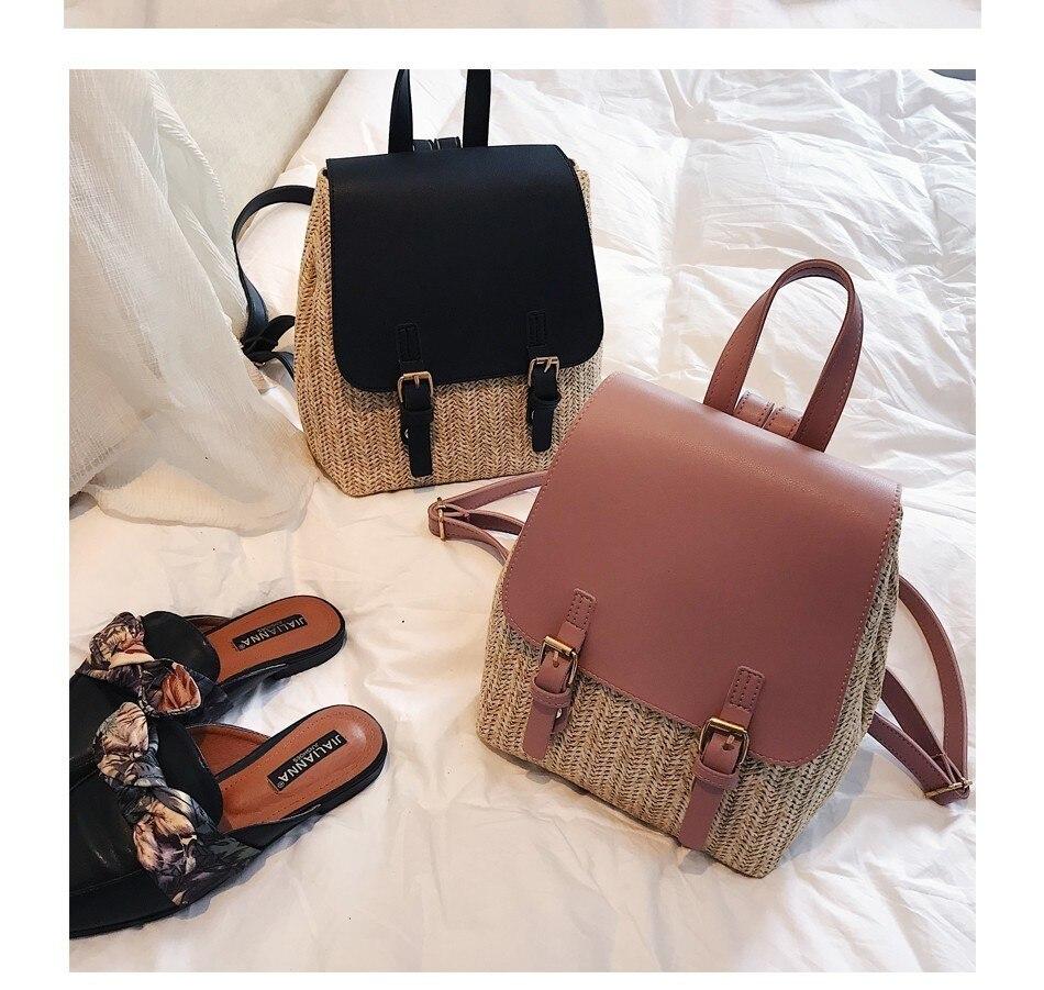 Hab342c6764ac4ab295dcb197dc5a9f05s Herald Fashion Straw Woven Backpack Women Back Pack Autumn Teenage Girl Quality Backpacks Travel Bags Kawaii Rucksack Drop Ship