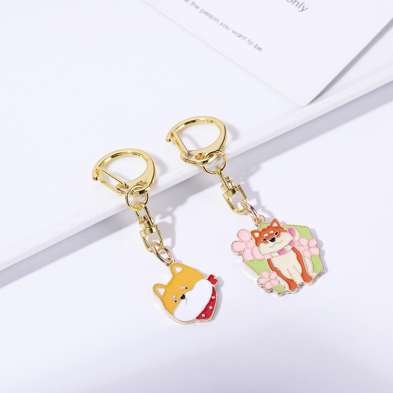 Loyalty Shiba Inu Keychains Cartoon Dinosaur Car Keyring Fashion Women Gifts Lucky Gift Key Ring Bag Charm Best Friend Gift