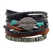 3pcs/set Black Leather Bacelets Men's Fashion Punk Rope Brai