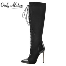 High-Heel Lace-Up Over-The-Knee Onlymaker Stiletto Pointed-Toe Black Metal Women's Flock