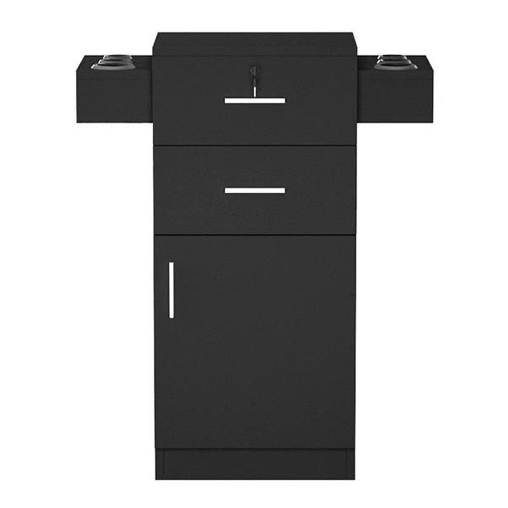 MDF и ABS пластик Парикмахерская Салон шкафчик фен стойка ящик с замком черный с двумя выдвижными ящиками аксессуары для хранения