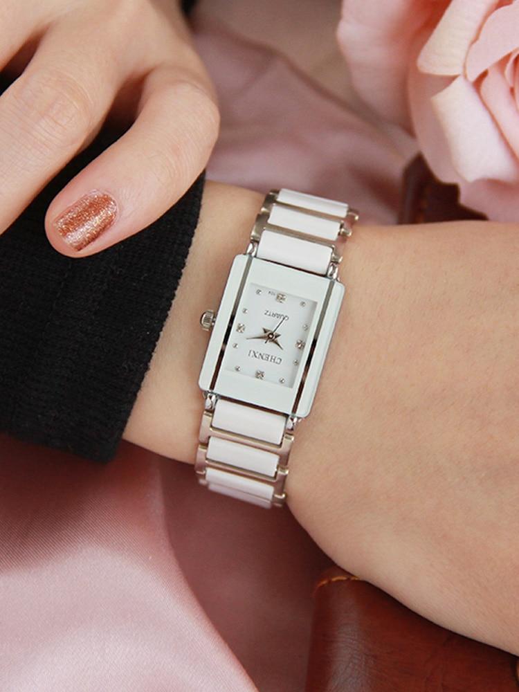 CHENXI Woman's Watch Bracelet Ceramics Elegant Stylish-Design Luxury Brand Rhinestone