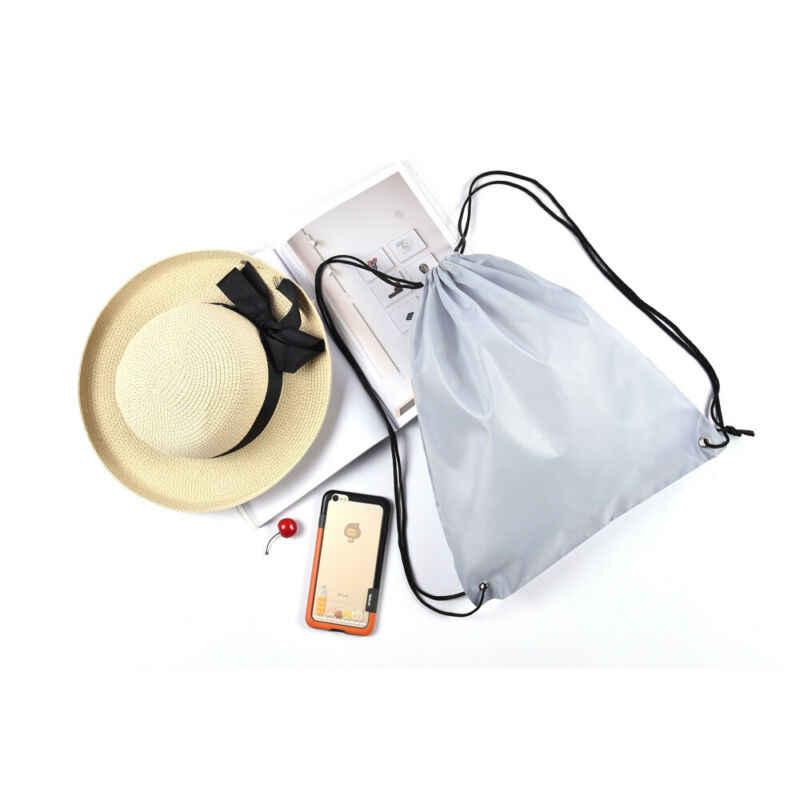 Fashion Pria Wanita Unisex Dapat Digunakan Kembali Solid Tali Serut Back Pack Menang Karung Gym Tote Tas Sekolah Olahraga Sepatu Tas Penyimpanan tas
