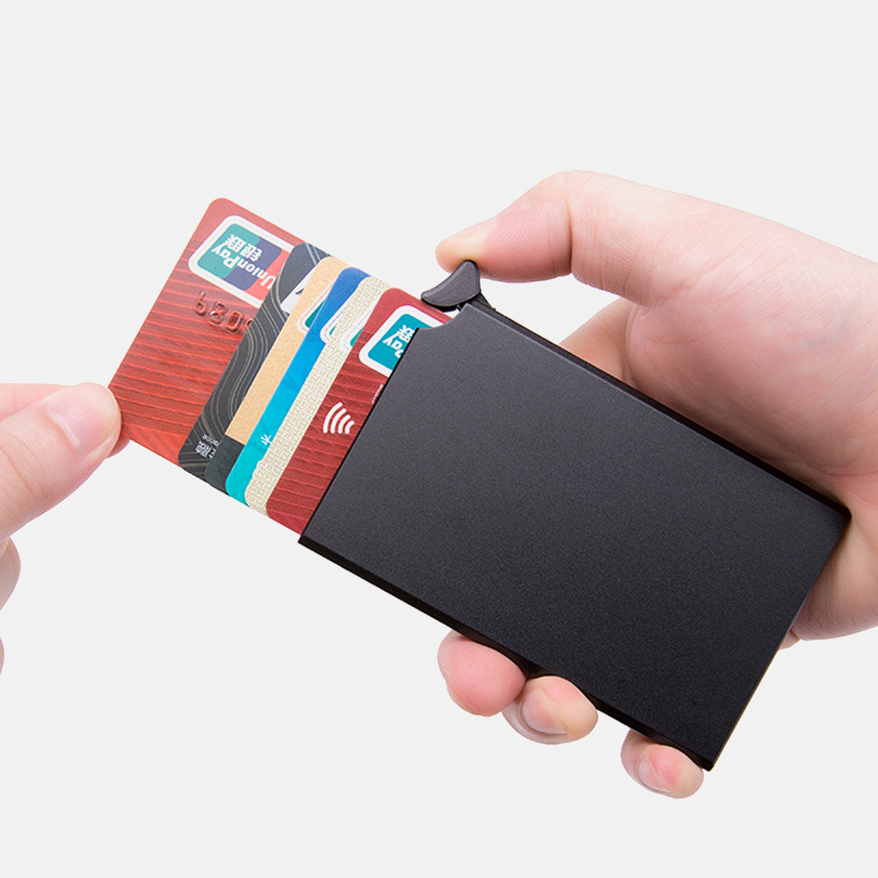 Anti-theft Credit Card Holder Thin ID Card Case Unisex Automatically Solid Metal Bank Card Wallet Business Mini