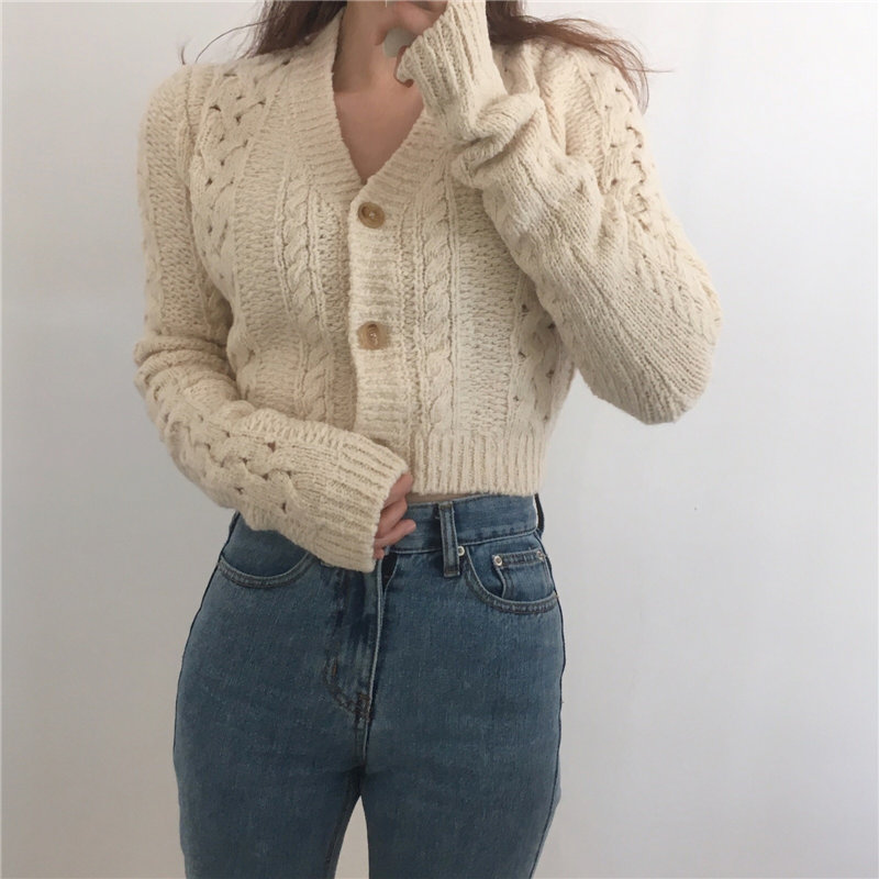 HziriP Vintage All-Match V-Neck Sexy Cardigans Twisted Hollow Out Fashion Slim Loose Knitted Women Casual Tops Short Sweaters