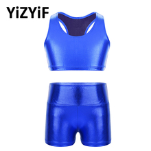Crop-Top Shorts-Set Sportwear High-Waist Gym Outfit Fitness Sleeveless with Workout-Clothes