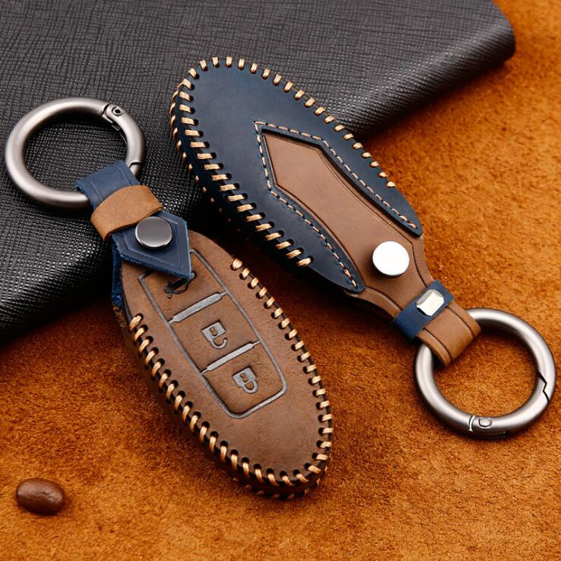 Genuine Leather Car Key Case Cover For Nissan Tidda Livida X-Trail T31 T32 Qashqai March Juke Pathfinder Keychain