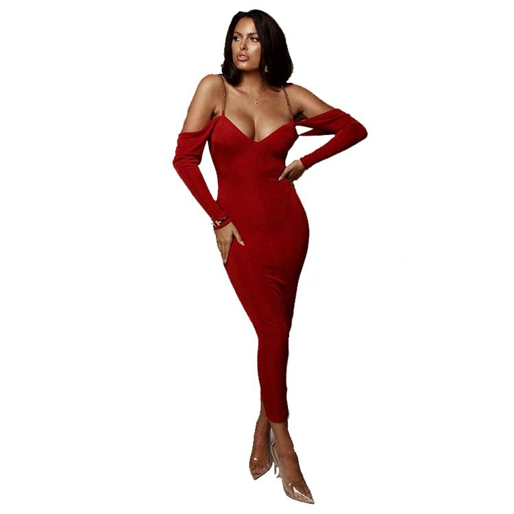 2020 New Casual Solid Color Long Sleeve Spaghetti V-neck  Strap Backless Bodycon Club Dress Women Maxi Long Ladies Sexy Dress