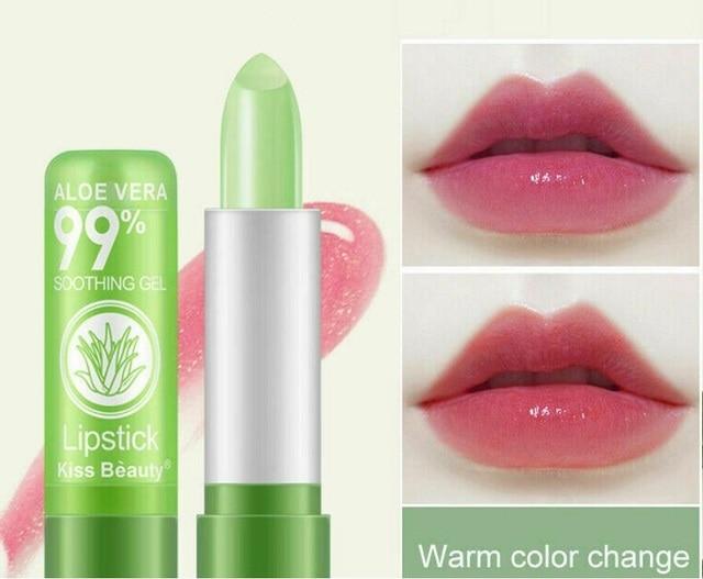 1 Piece Moisture Lip Balm Long-Lasting Natural Aloe Vera Lipstick Color Mood Changing Long Lasting Moisturizing Lipstick Anti Aging 1