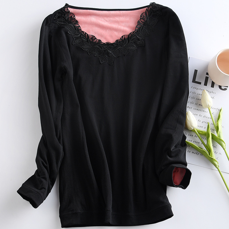 2018 Elegant Leaf Embroidery Winter Women Clothes Double Thick Warm Velvet Thermo Underwear For Ladies V-Neck Black Thermal Tops