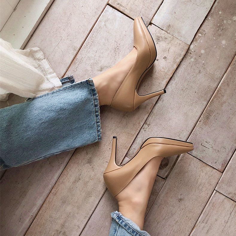2020 New High-heeled Pointed Toe Shoes For Women Shallow Mouth Platform Dress Pumps