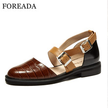 FOREADA Flats Women Two Piece Shoes Natural Genuine Leather Flat Shoes Buckle Ankle Strap Shoes Dress Round Toe Female Footwear natural leather women s shoes 2018 handmade strap female flat shoes embroider latest design hot sale ladies shoes
