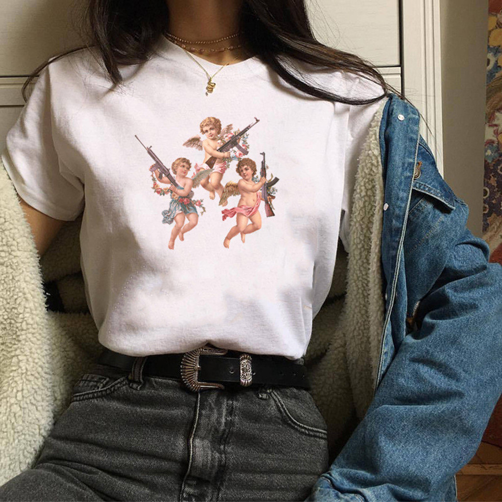 Tshirts Women Angel Print Short Sleeve Casual Loose T-shirt Woman Crop Tee Short Tops 2020 Summer Tshirt Streetwear d5