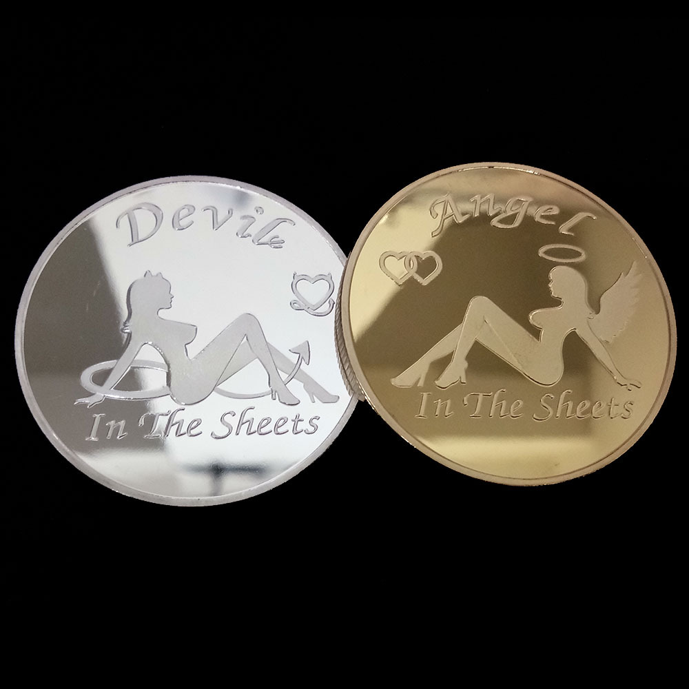 Sexy Woman Angel Coin Get Tails Head! Adult Challenge Lucky Girl Commemorative Coins Collection Gold Challenge Coin