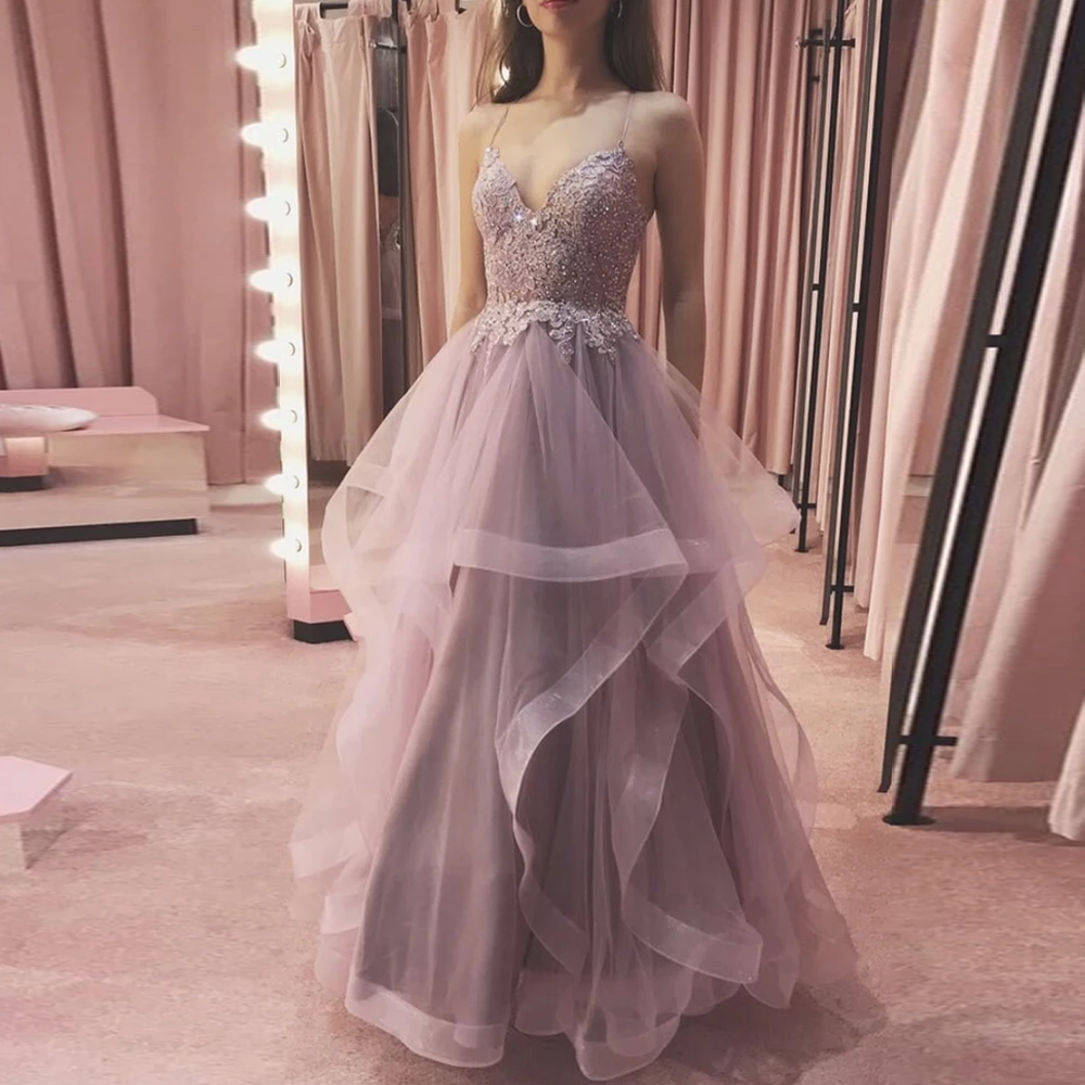 BEPEITHY A-line Long Evening Dresses 2021 платья знаменитостей Ruffle Skirt Sleeveless Prom Dress Party Gown V Neck Robes