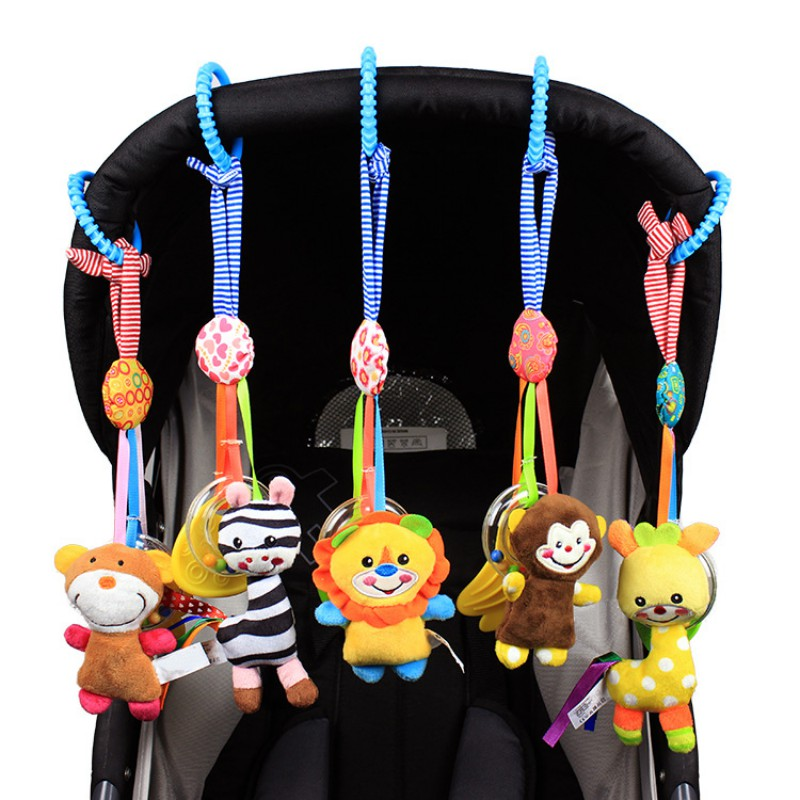 Baby Lathe Hanging Ring Rattle Cute Animals Shape Plush Cotton High Quality Crib Hanging Baby Stroller Hanging Toys