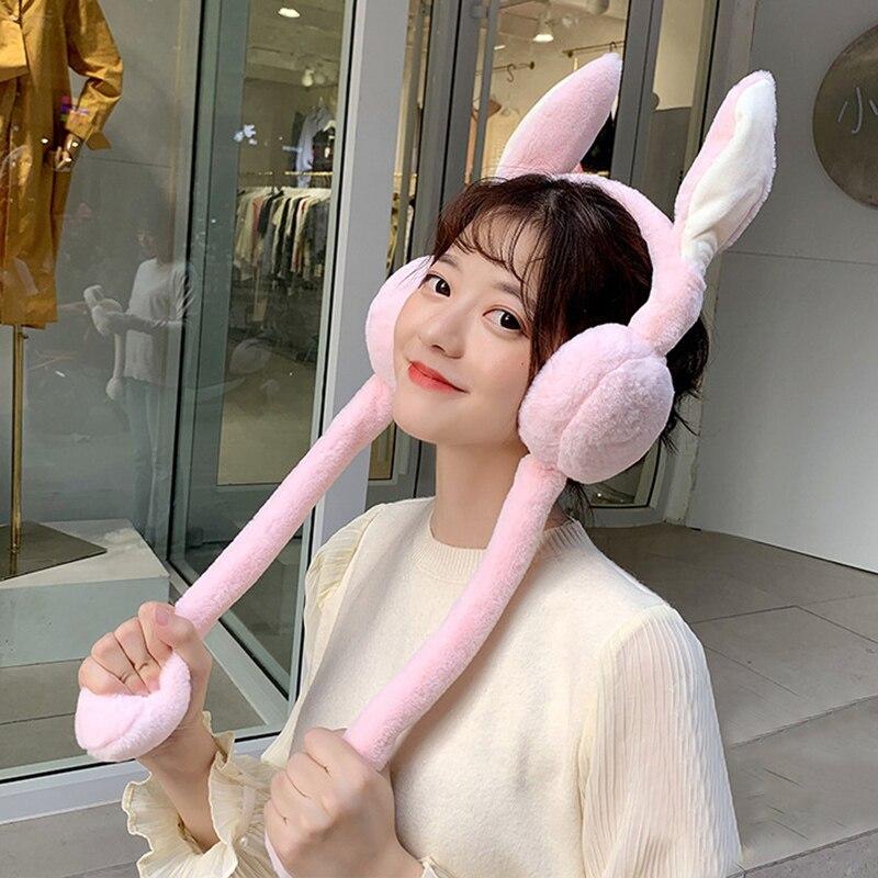 Cute Women Earmuffs Warm Can Move Airbags Cap Plush Dance Rabbit Ear Autumn Winter NFE99