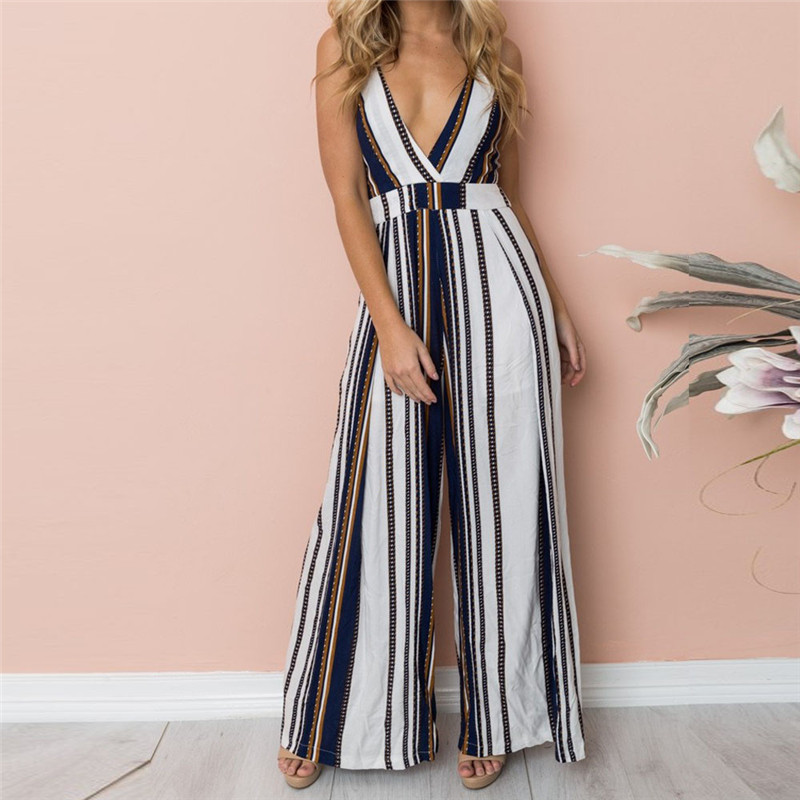 Woman bodysuit Women Summer Sleeveless Strip   Jumpsuit   Print Strappy Holiday Long Playsuits Trouser Fashion 2019