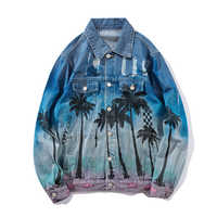Distressed Denim Jacket Mens Vintage Coconut Tree Print Graffiti Jackets and Coats Streetwear Hip Hop Washed Hole Jacket for Men