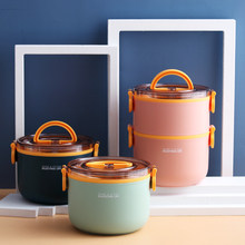 Double layer Round Lunch Box With Spoon Single Double Layer Separation,Microwave 1.6L Bento Box Work School Outdoor Picnic