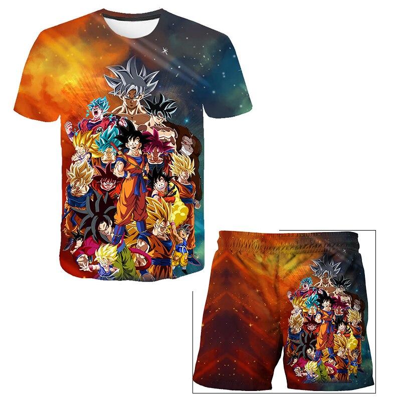 Футболка с изображением первого дракона-жемчуга Вегета, штаны для мальчиков, детская одежда с коротким рукавом, футболка с японским аниме, ш...