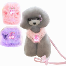 Pink Purple Princess Lace Cherry Pet Dog Harness Leash Set Breathable for Small XS S M L XL