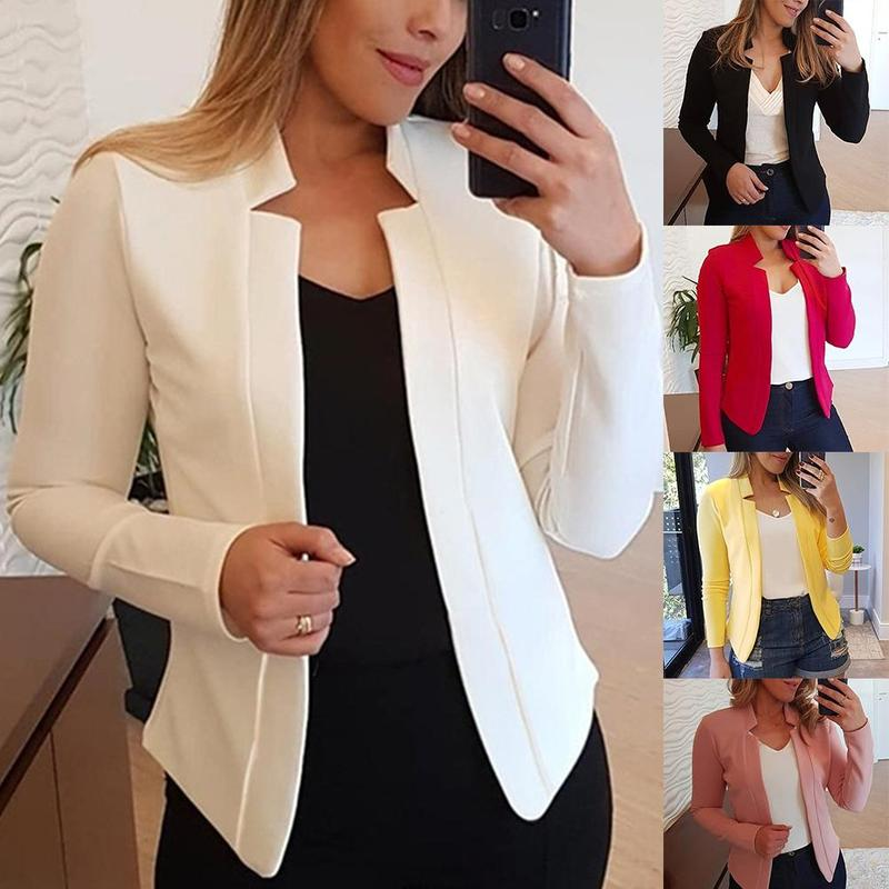 2019 New Women Blazers Thin Long Sleeve Blazer Solid Color Office Lady Suit Jacket Autumn Coats Womens Long Sleeve Blazers