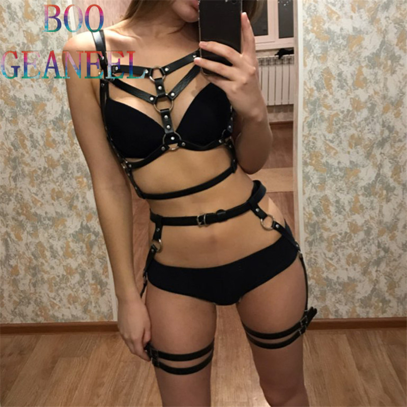 2 PCS Gets New Fashion Dark Rock Street Strap Leather Harness Bondage Belt Straps Adjustable Buckle Garter Waistband Body
