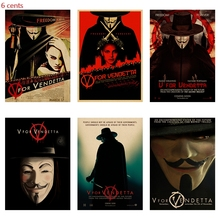 V for Vendetta movie poster retro kraft paper bar cafe wall decoration painting
